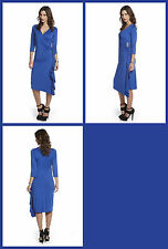 bnwt 3/4 SLEEVE WRAP BROOCH DRESS in the colour COBALT BLUE size : 10  bnip NEW
