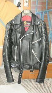Vintage-Belstaff-Biker-Veste-En-Cuir-Moto-argent-Les-Fermetures-a-Glissiere-Noir-XS-S-34-36
