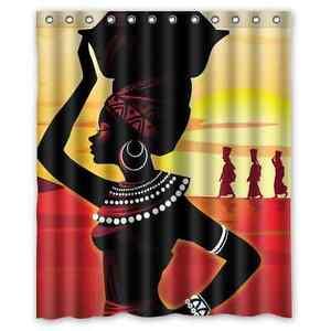 Brand New Cartoon African Woman Waterproof Bathroom Shower