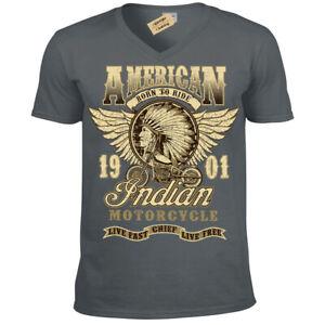 Indian-chief-T-Shirt-motorcycles-american-biker-t-shirt-Mens-V-Neck