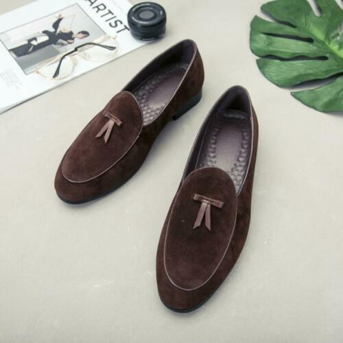 Mens Suede Slippers Flats With Bowtie Loafers Slip on Belgian Dress Shoes New