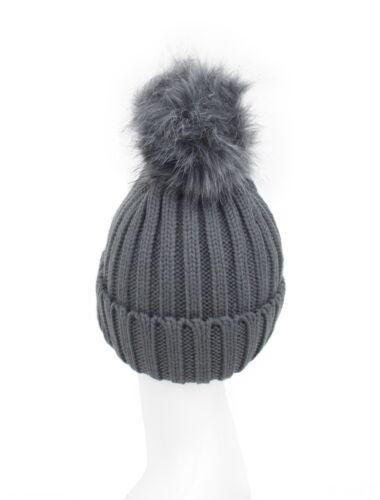 Señoras Mujeres Gris De Invierno De Punto Beanie Sombrero Desmontable Imitación Piel Bobble Pom Pom