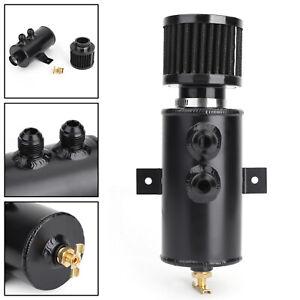 Aluminium-Baffled-Engine-Oil-Catch-Can-2x-AN10-Twin-Port-Breather-Filter-Blak-T5