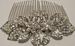 Pearl-Rhinestone-Floral-Cluster-Silver-Hair-Comb-Pageant-Prom-Wedding-NWT-L622