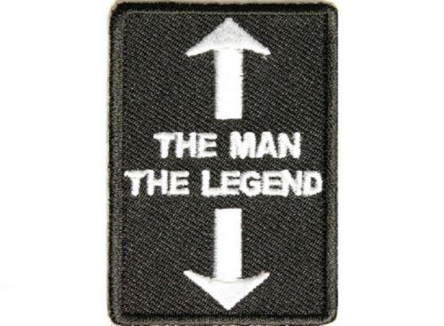 "B10 2901 THE MAN THE LEGEND 1.5/"" x 2.25/"" iron on patch Biker"