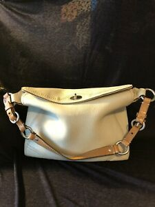 Coach F12338 Chelsea IVORY  Pebble Grain heavy Leather Shoulder tote bag purse