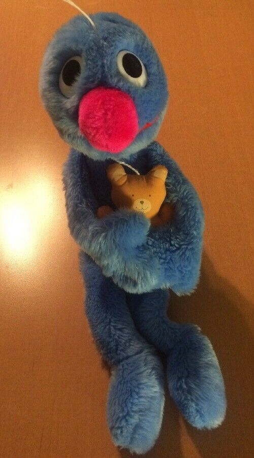 Hasbro Softies Grover Holding A Teddy Bear From 1985