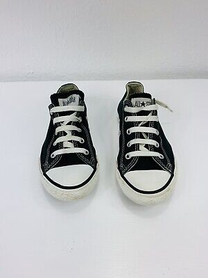 Converse All Star Chuck Taylor Canvas Shoes Low Top Black Youth 3J235 SZ10.5-3