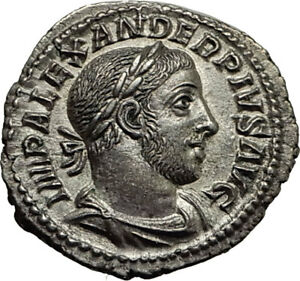 SEVERUS-ALEXANDER-232AD-Rome-Authentic-Ancient-Silver-Roman-Coin-MARS-i65410
