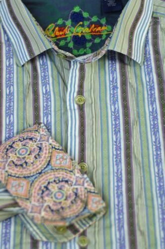 Robert Graham Men's Green Blue Ruffle Stripe Cotto