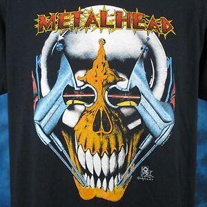 vintage-80s-METAL-HEAD-CYBORG-SKELETON-PAPER-THIN-T-Shirt-M-L-skull-robot-biker