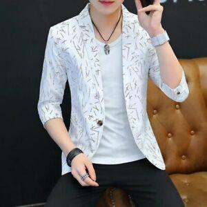 Chic-Men-Blazer-Jackets-One-Button-Slim-Fit-3-4-Sleeve-Korean-Youth-Summer-Coats