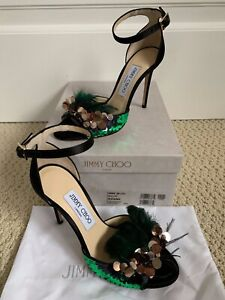 30b69971ef8a NIB Jimmy Choo Annie Black Feather Sequin Ankle Strap Sandals Heels ...