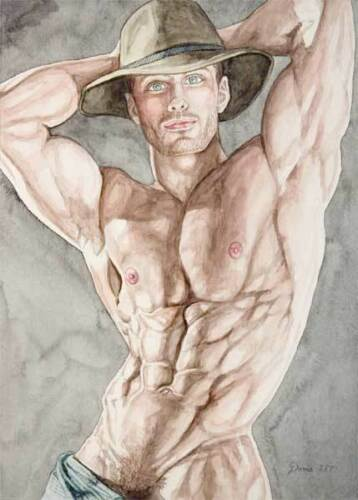 homme nu boy watercolor print nude male cowboy with arms up gay interest