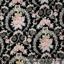 BonEful Fabric FQ Cotton Quilt VTG Black Pink Cream Flower Rose Bud Damask Lace