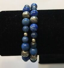 Carolyn Pollack- Relios Sterling Lapis & Bench Bead Coil Bracelet