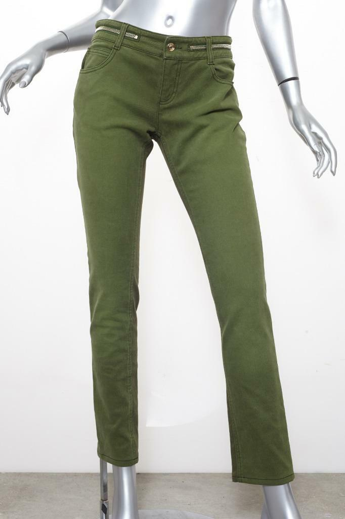 GIVENCHY Womens Olive Green ZIPPER 2Tone Stretch Denim Straight-Leg Jeans 38 6 S