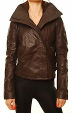 Brand New Denham women's leather jacket CANNES small Fall Essential Brown BCF411