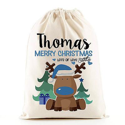 Cute blue boy Christmas reindeer Santa sack stocking gift bag, personalised bag