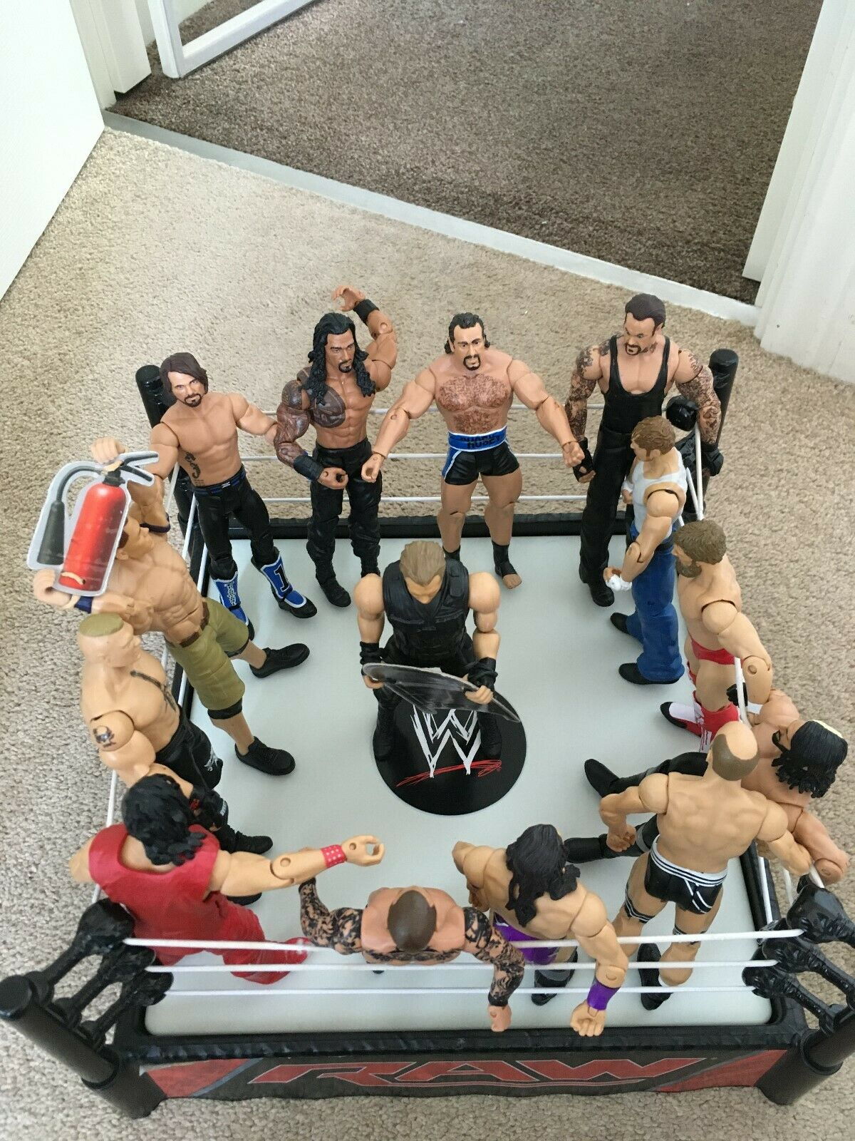 WWE Action Figures (x14) Bundle with RAW Wrestling Ring and 3 Championship belts