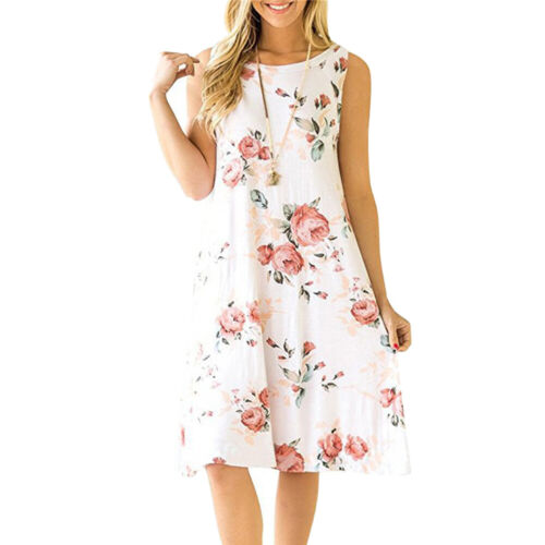 Women/'s Sleeveless Midi Floral Loose Dress Boho Tank Print Casual Summer Dress