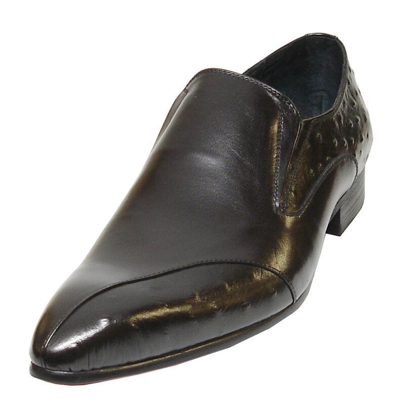 FI -3240 nero Encore by Fiesso Cuoio  originale   Ostrich Print Leather scarpe  stile classico