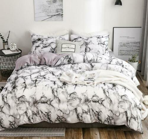 Contemporary Fitted Bedding Set Pillowcase Marble Printed Bedding Queen King Sz