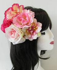 Englische Rose Rosa Blumen Fascinator Kopfstück Vintage 1950er Jahre 40er Jahre