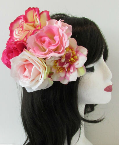 English Rose Pink Flower Fascinator Headpiece Vintage 1950s 40s Rockabilly S41