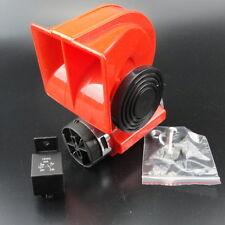 Single RED 12V Car Snail Compact Dual Tone Electric Pump Siren Loud Air Horn