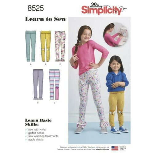 Simplicity Sewing Pattern 8525 Child/'s and Girls Knit Leggings Learn to Sew