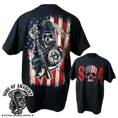 SONS OF ANARCHY SKULL LOGO AMERICAN FLAG SOA BIKER REAPER SAMCRO TEE SHIRT S-3XL