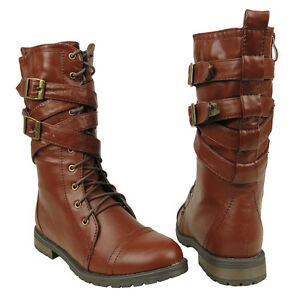 New Womens Mid Calf Strappy Lace Up Military Combat Boots Brown Sz ...