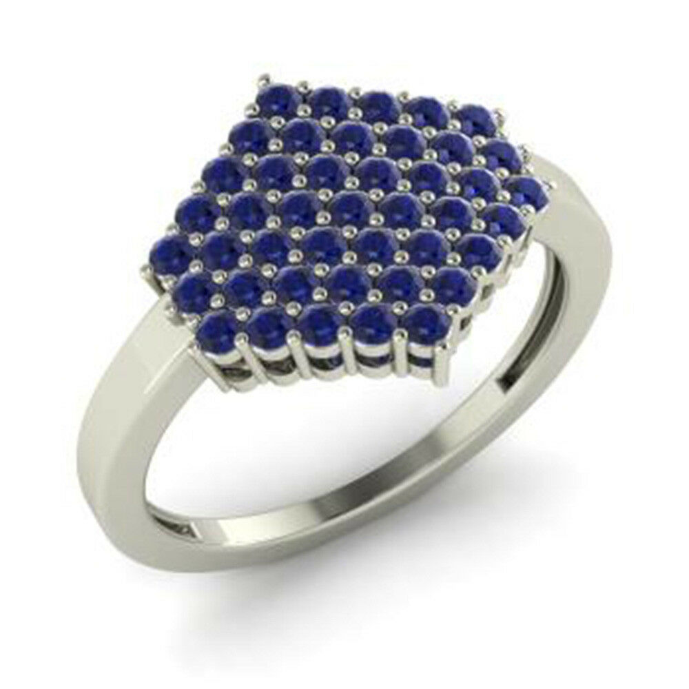 0.86 Ct Real Natural Sapphire Gemstone Engagement Ring Platinum Rings Size 6.25
