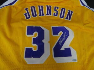 0822a3844b0 Image is loading Magic-Johnson-Signed-Lakers-Home-Yellow-Replica-Jersey-