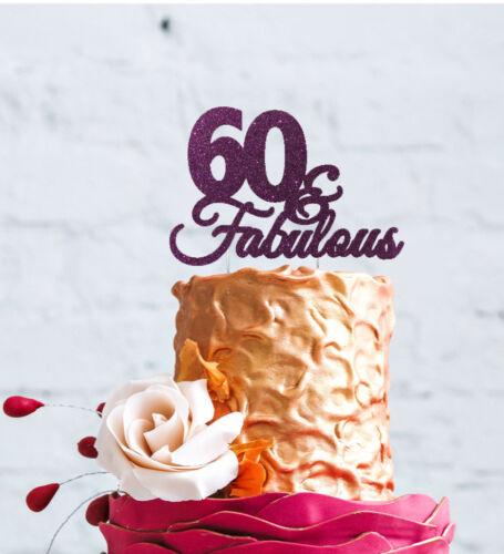 60 /& Fabulous Cake Topper-Joyeux 60th Anniversaire Topper-Pailleté Noir