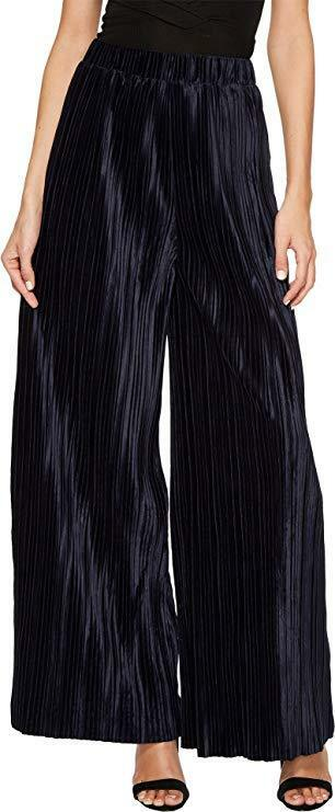 J.O.A. Women's Pleated Wide Leg Pants Navy Large