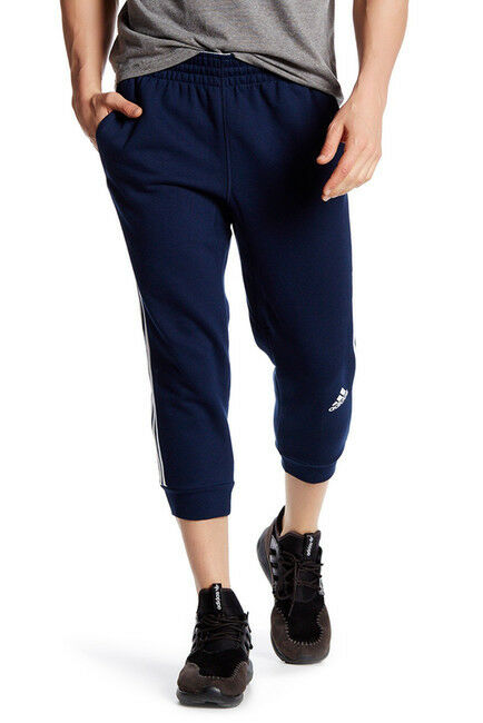 Hommes Adidas 3/4 Pantalon Slim Fit 3-Streifen-Platz Marine Neuf AY5284