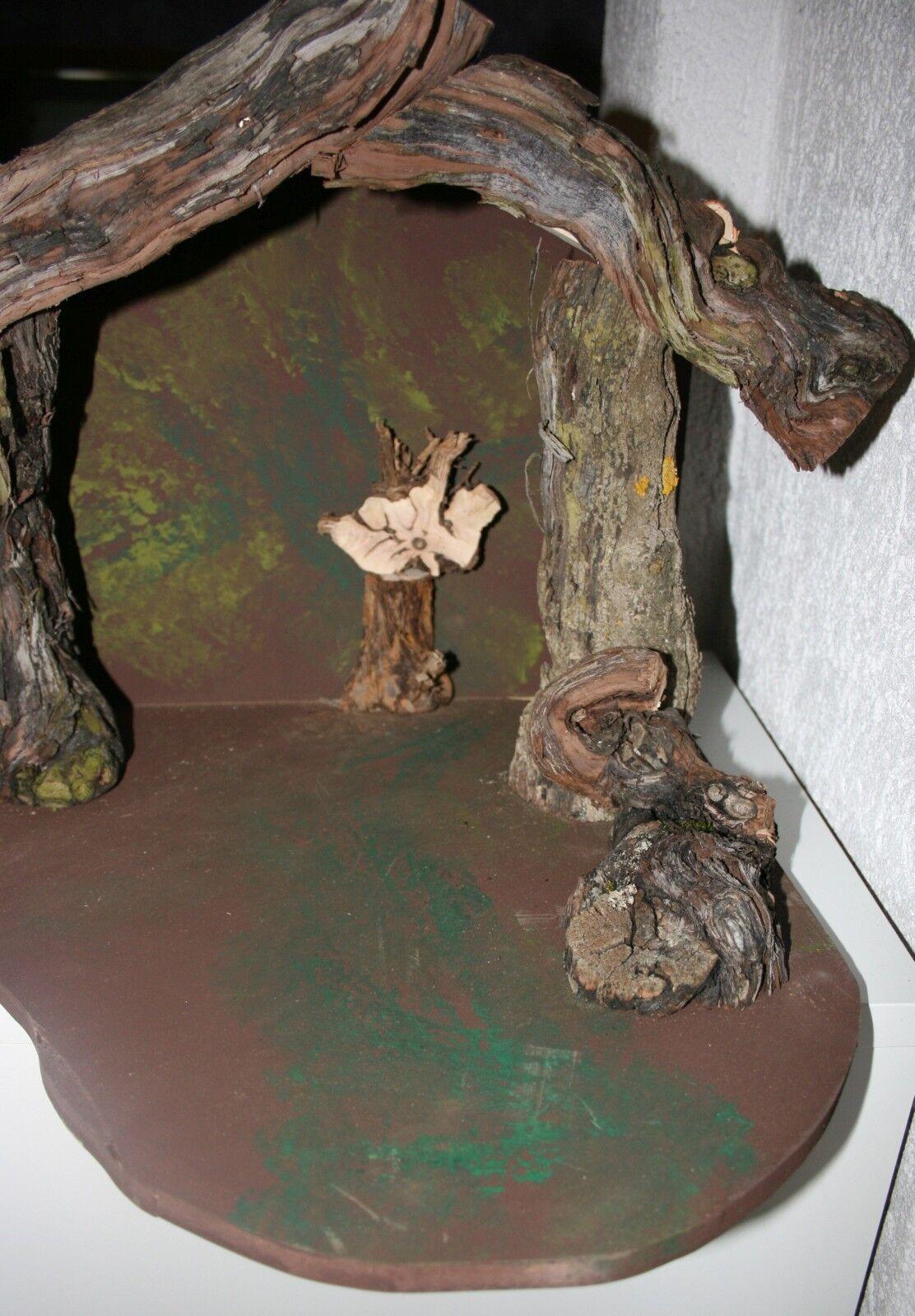 Wurzelkrippe 61 cm br 37 cm h h h 17 cm t  Platte bis 41 cm t Weihnachten Krippe fd0afa