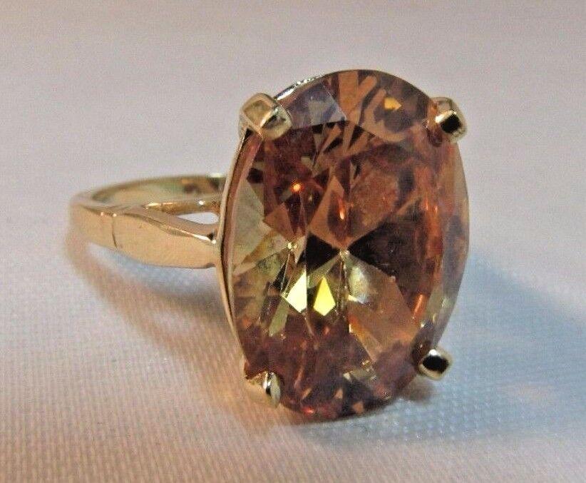 14K gold 6 Carat Light Topaz Ring.  Size 6.5    SALE-SAVE  850.