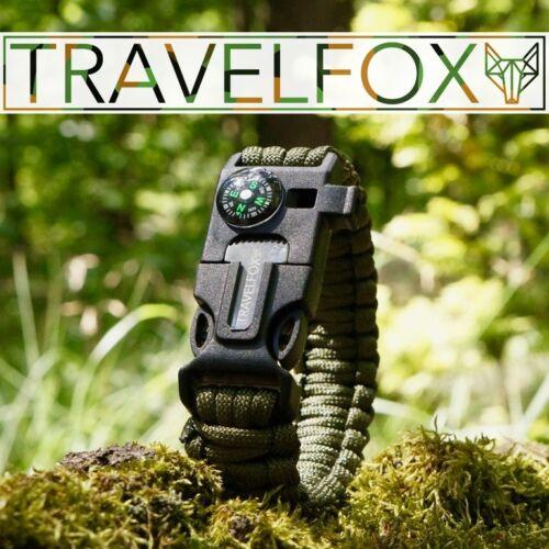 Survival Outdoor Paracord Armband mit Feuerstein Feuerstarter Pfeife und Kompass