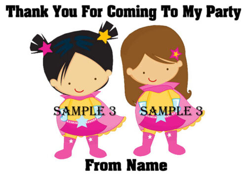 Personalised Superhero Thank You Stickers for party bags//Sweet Cones etc Ref 514