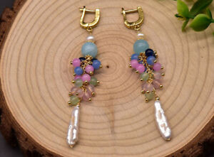 B15-Gold-Plated-Earrings-Long-Baroque-Pearl-with-Colourful-Semi-Precious