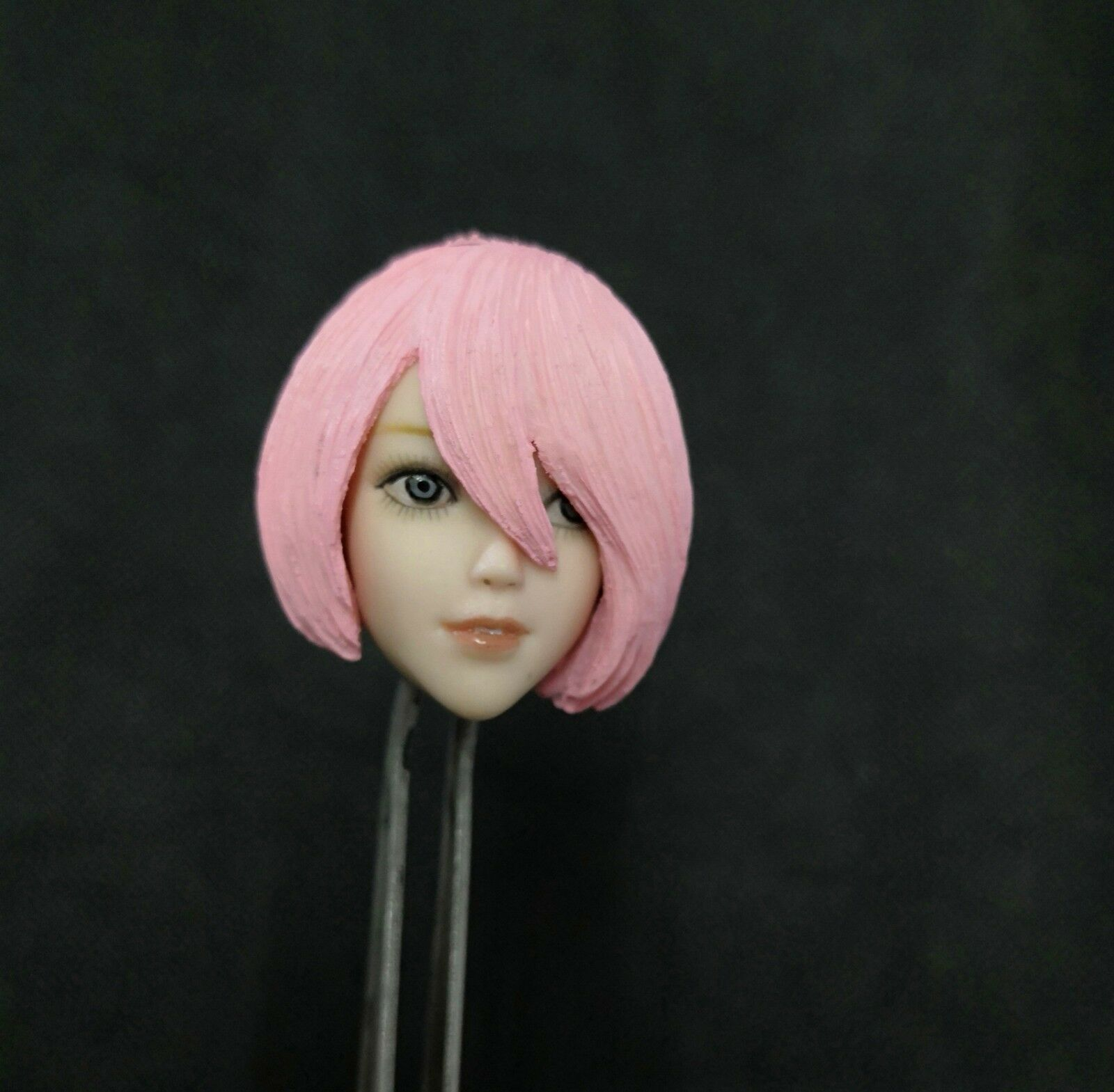 1 6 Pale Skin Anime Female Head Sculpt Toy With Pink Hair Mould Fit 12'' Figure