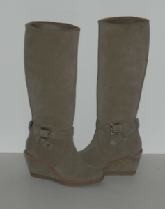 Coach Candid suede wedge clay boots