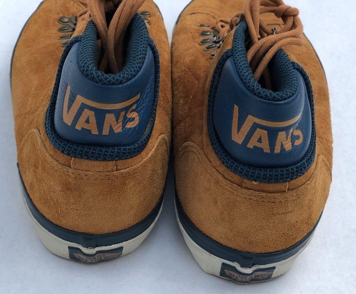 Vans shoes Mid Skool CA Mens 8.5 M  '77 2010 Hiker Bison gold bluee Suede Unisex