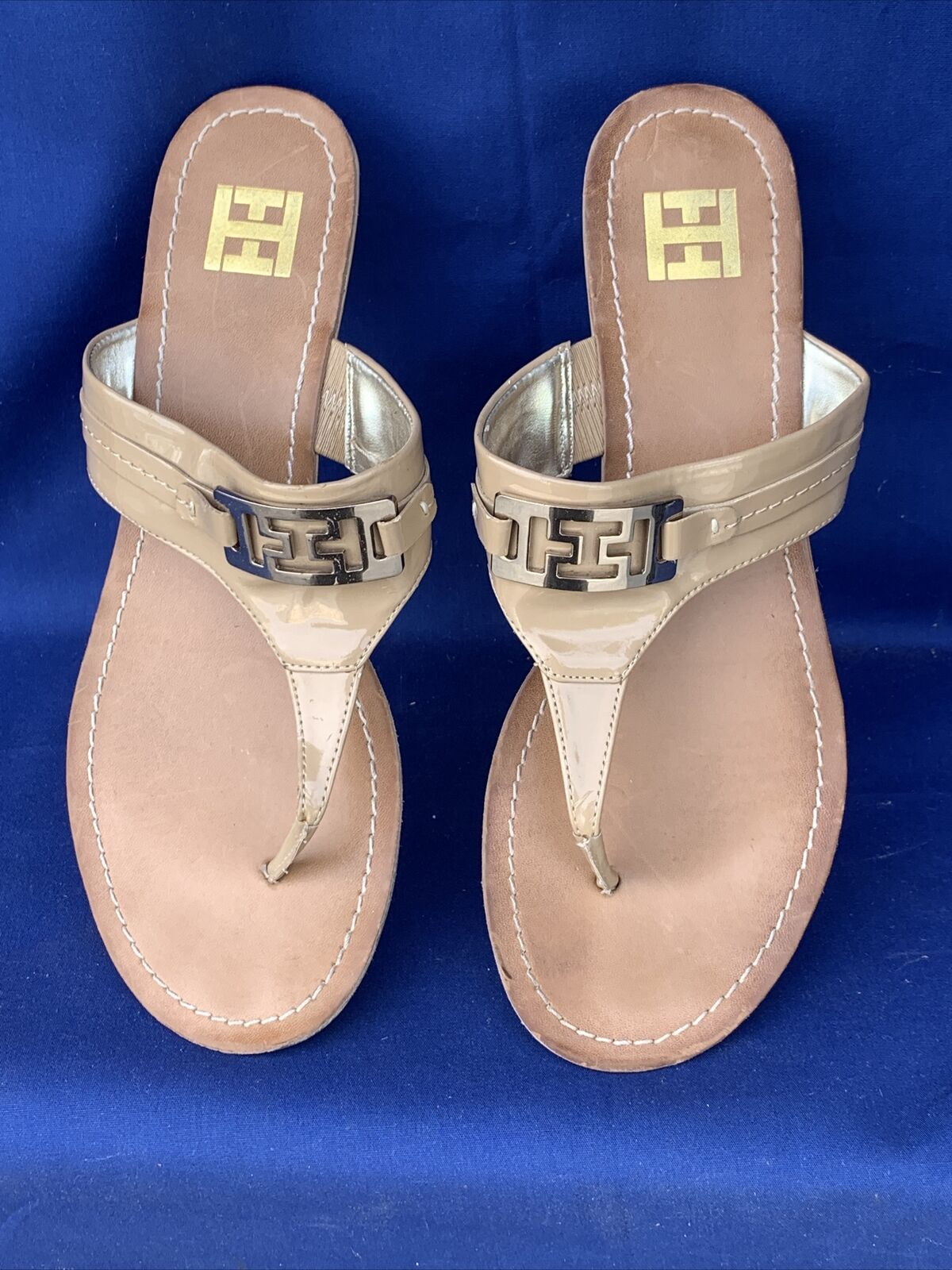 TOMMY HILFIGER Faux Patent Leather Sandals Wedges… - image 1