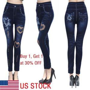 USA-Women-Leggings-Skinny-High-Waist-Jeans-Trousers-Denim-Stretchy-Pencil-Pants