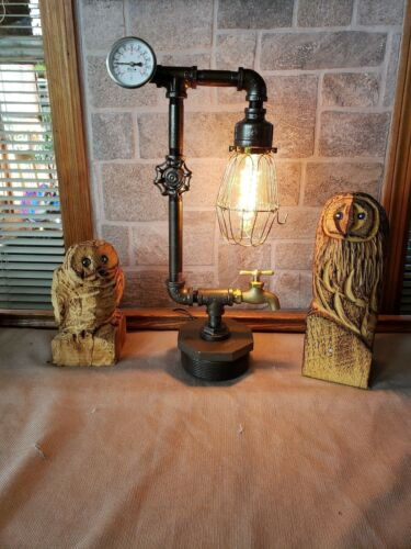 lighting Handcrafted Industrial style Pipe Desk,table,steampunk home decor lamp