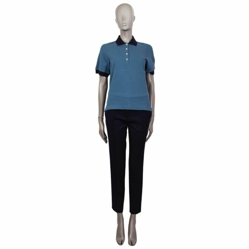 58315 auth HERMES soldier & navy Blau cotton Polo Hemd XL